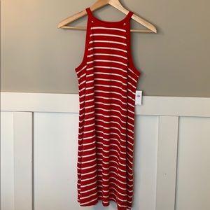 Old Navy Swing Halter Dress Red White Stripe NWT